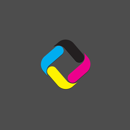 cmyk abstract: Vector business template with CMYK icon logo