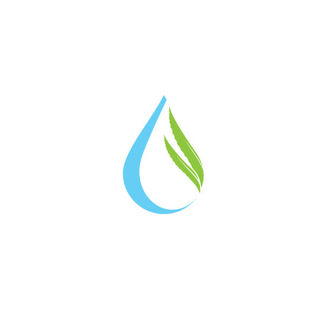 Aloe vera and drop vector illustration, template logo