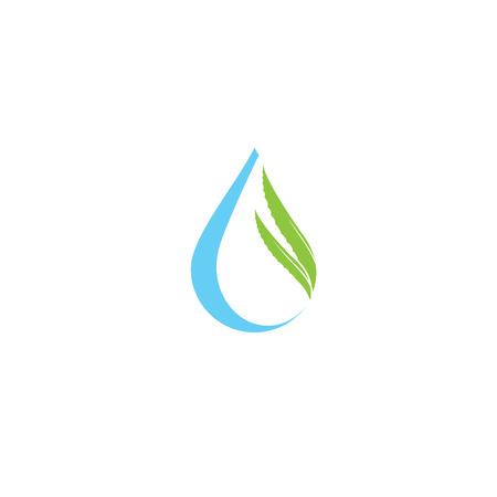 Aloe vera and drop vector illustration, template logo Illustration