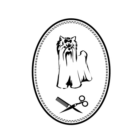 peineta: Pet logo de aseo con el perro, cepillo para el pelo y tijeras, muestra perrito Vectores