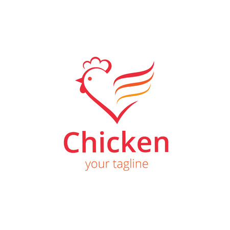 cock: Sign, stylized silhouette chicken. Logo design template