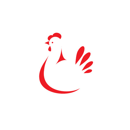 poultry animals: Sign, stylized silhouette chicken. Logo design template