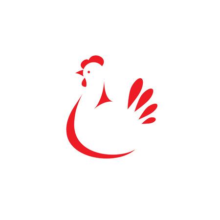 Teken, gestileerde silhouet kip. Ontwerp sjabloon