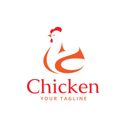 Sign, stylized silhouette chicken. Logo design template