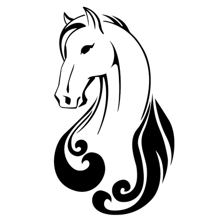 mustang horse: horse head with flying mane vector illustration