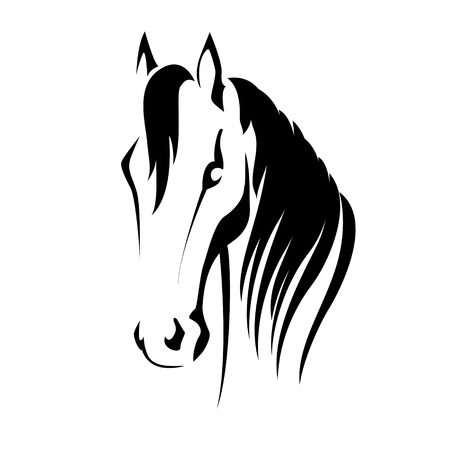 mustang horses: horse head with flying mane vector illustration