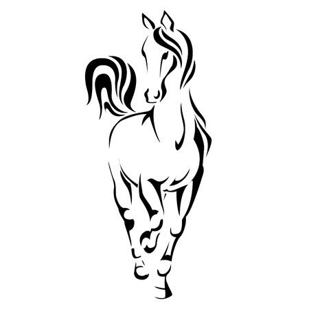 caballos negros: Cabeza de caballo estilizado con volar melena ilustración vectorial