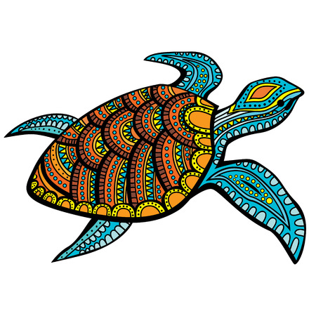 swimming in the sea: Stylized turtle. Hand Drawn doodle vector illustration.
