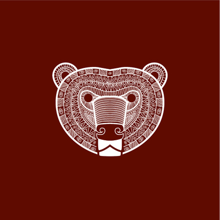 fur: stylized Bear face. Hand Drawn doodle vector illustration isolated on white background. Illustration
