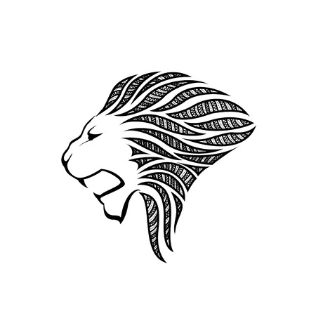 heraldic lion: Lion head silhouette on white background - vector illustration