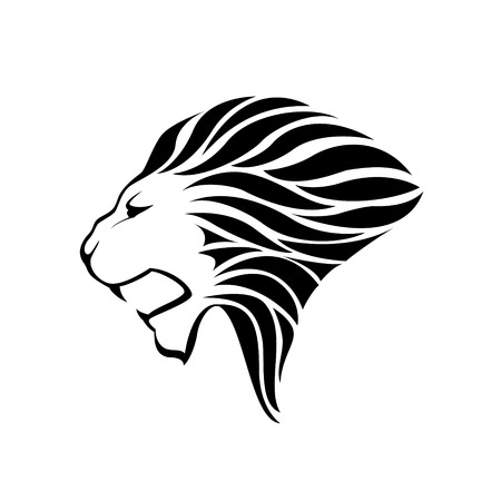 Lion head silhouette on white background - vector illustration