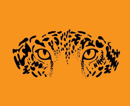 jaguar: Leopardo o jaguar. Gato estilizado silvestre. Ilustración vectorial Vectores
