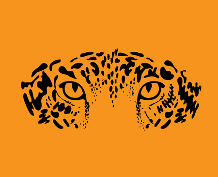 Luipaard of jaguar. Gestileerde wilde kat. Vector illustratie