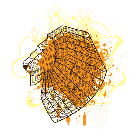 Lion head silhouette on watercolor background - vector illustration