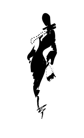 hand silhouette: Fashion illustration a woman in a long dress, ink. Vector illustration
