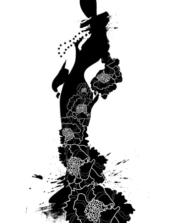 siluette: Fashion illustration a woman in a long dress, ink. Vector illustration