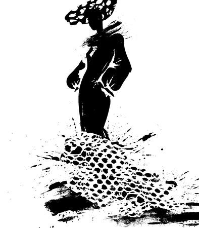 elegant dress: Fashion illustration a woman in a long dress, ink. Vector illustration
