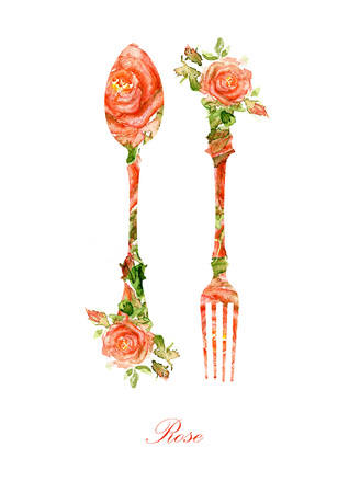 knife fork: Fork and spoon Silhouette of watercolor roses Stock Photo