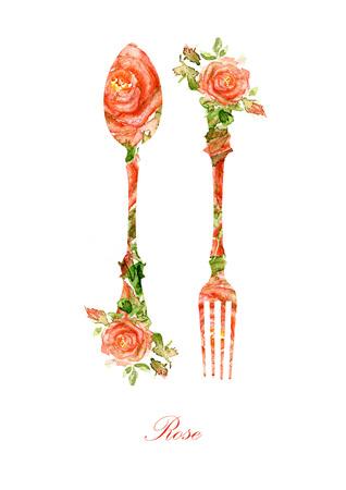 utencilios de cocina: Tenedor y cuchara Silueta de rosas de la acuarela