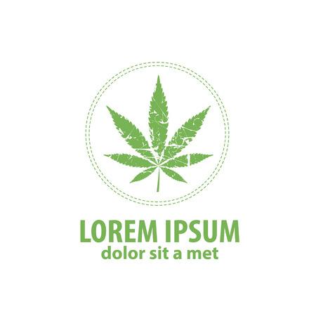 cannabis leaf: Logo cannabis leaf. Vector cannabis grunge emblem. Illustration