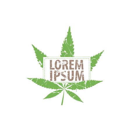 canabis: Logo cannabis leaf. Vector cannabis grunge emblem. Illustration