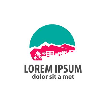 logotipo turismo: logotipo con una silueta de la ciudad, una montaña y una palma