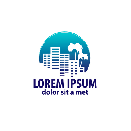 bulding: logo with a silhouette of the city and a palm