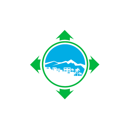 bulding: logo with a silhouette of the city, a mountain and a palm Illustration