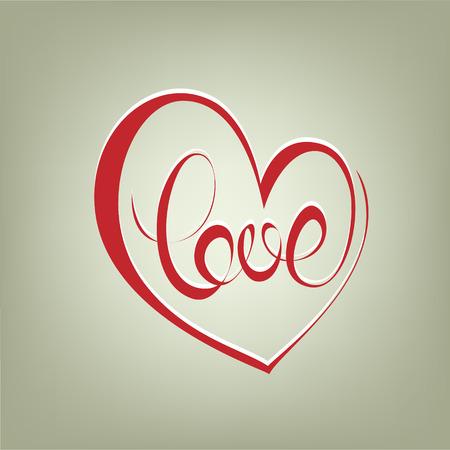 love letter: Muestra del amor caligrafía rizado. Corazones del amor de la caligrafía