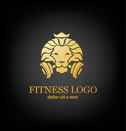 bodybuilding: Lion Sport Logo Vector Template Illustration