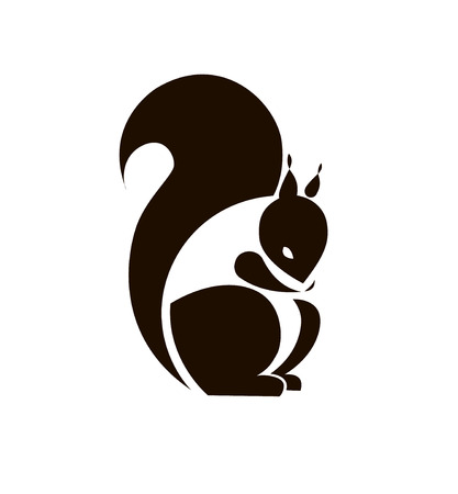 Silhouette Squirrel. Vector sign for your design.