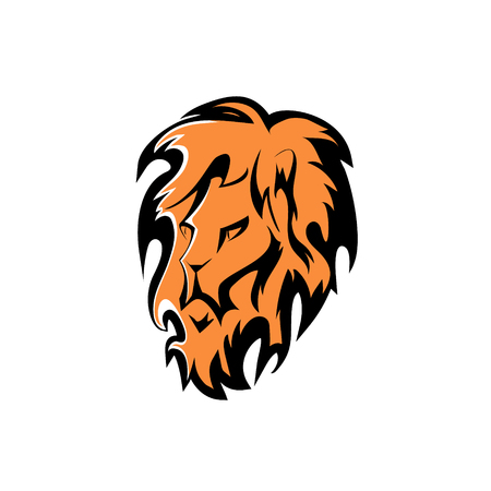 exercise silhouette: lion head. vector design