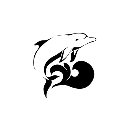 sealife: Dolphin jumping over a wave. vector design Illustration