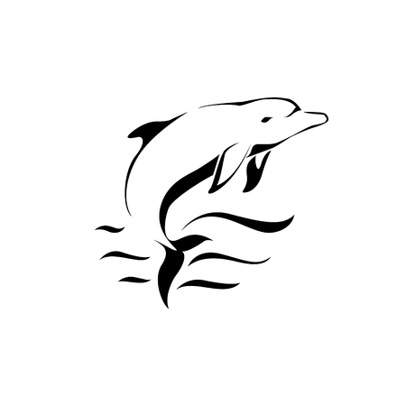 dolphin jumping: Dolphin jumping over a wave. vector design Illustration