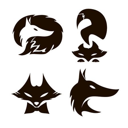 black fox: Fox set of silhouettes, vector illustration. Fox on white background