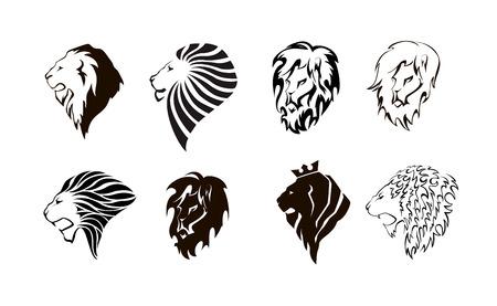 Lion head. Wild lion head graphic illustration. Design element. Set.