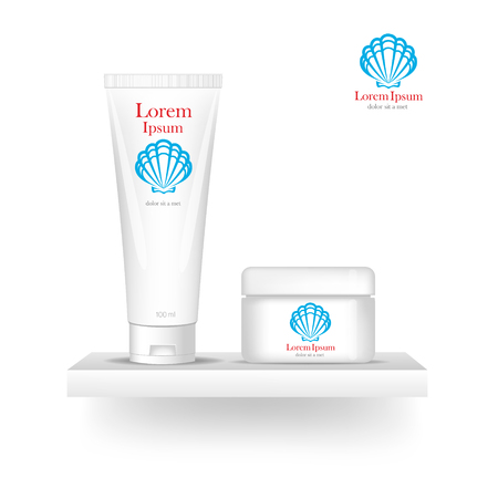 cosmetics products: Packaging cosmetics, mock-up. Plastic Container. Package cream, Beauty products. Illustration