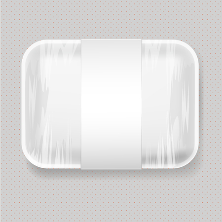 food tray: White Empty Blank plastic Food Tray Container. Mock Up Template package