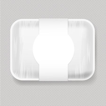 Bianco Vuoto di plastica in bianco cibo Vassoio Container. pacchetto Up Modello Mock. Archivio Fotografico - 56012469