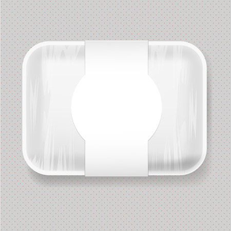 White Empty Blank Plastic Food Tray Container. Mock Up Template package.