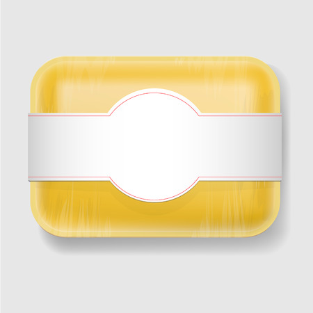 food tray: Yellow Empty Blank Plastic Food Tray Container. Mock Up Template package.