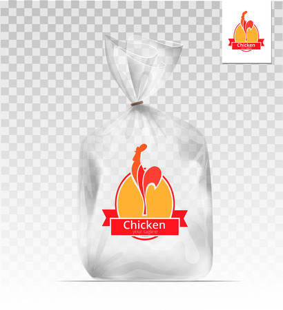 agricultural: Empty Transparent plastic gift bag with chicken. design template. Company design. Illustration
