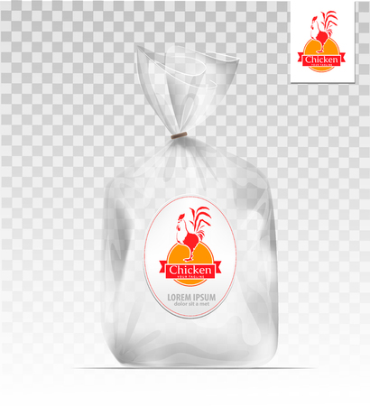 cellophane: Empty Transparent plastic gift bag with chicken. design template. Company design. Illustration