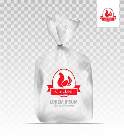 Vaciar la bolsa de regalo de plástico transparente con pollo. diseño de la plantilla. diseño de la compañía.