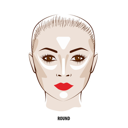 highlight: Contour and Highlight makeup. Contouring round face make-up. Fashion illustration Illustration