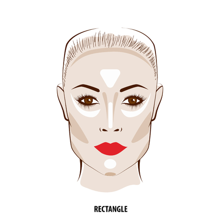 corrective: Contour and Highlight makeup. Contouring rectangular face make-up. Fashion illustration Illustration