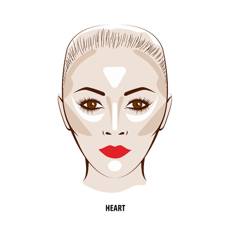 highlights: Contour and Highlight makeup. Contouring face make-up. Fashion illustration Illustration