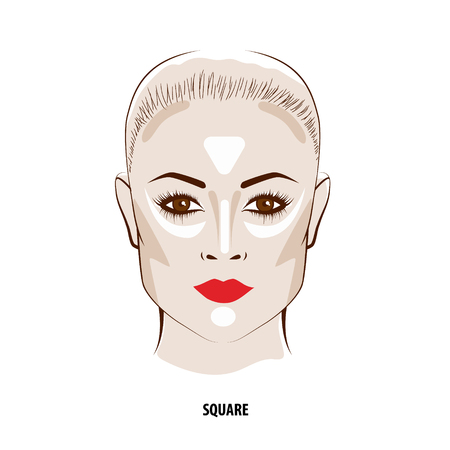 Contour and Highlight makeup. Contouring square face make-up. Fashion illustration Vettoriali