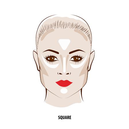 Contour and Highlight makeup. Contouring square face make-up. Fashion illustration Illustration