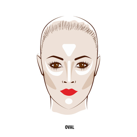Contour and Highlight makeup. Contouring oval face make-up. Fashion illustration